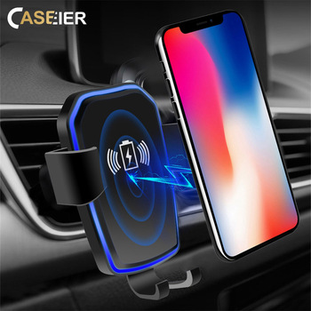CASEIER QI Wireless Car Charger For Samsung S10 S9 Note 9 5W 10W Fast Wireless Charger Car Phone Holder For iPhone 8 X XR XS Max