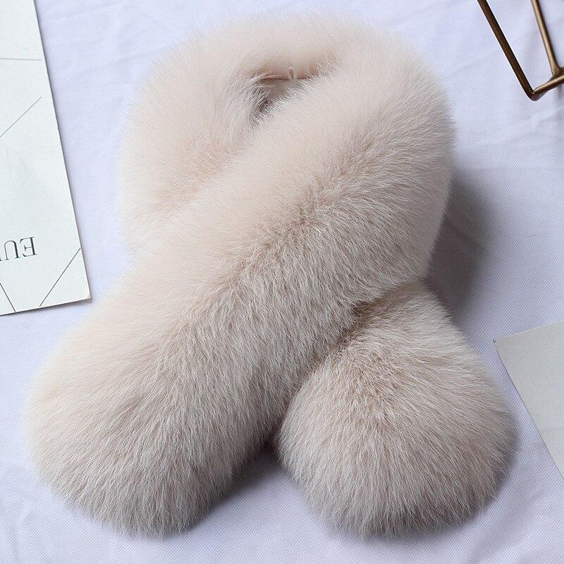 Red Fund écharpe en laine de renard col en laine de renard écharpe en fourrure de cuir longue caisse Clip fonds automne hiver femme protéger écharpe, chapeau gants ensemble