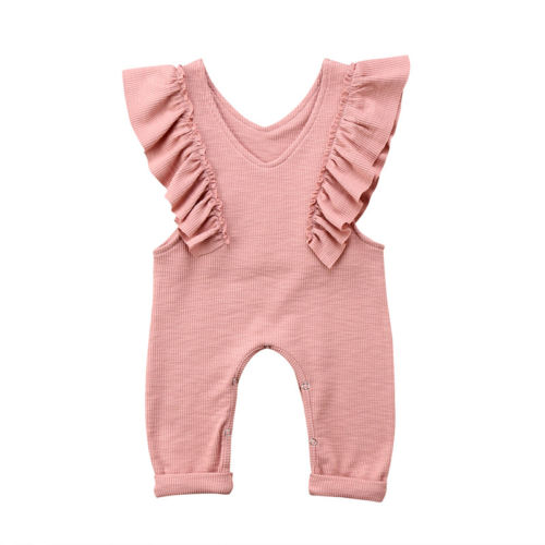 3ff9ea6a721f Cute Baby Girl Ruffles Knitted Romper Jumpsuit One Piece Kids Overalls Rompers  Outfit Clothes Summer V