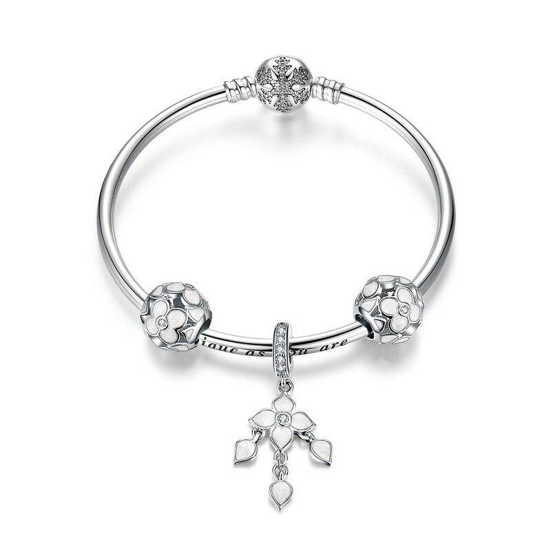 100% 925 Sterling Argent trèfle à Quatre feuilles bracelets porte-bonheur pour Femmes Flocon De Neige bracelets à fermoir & Bangles Bijoux SCB812 BAMOER