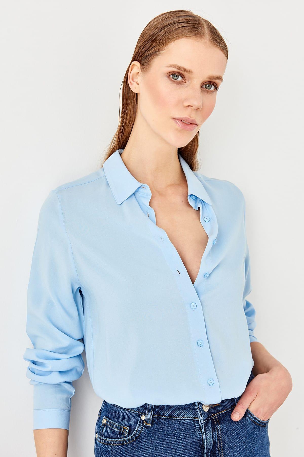 Trendyol Blue Basic Shirt TWOSS19ST0226