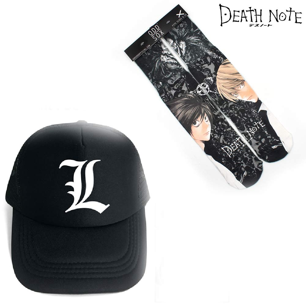 OHCOMICS Death Note L.Lawliet/Killer Hot Anime Baseball Cap+Socks Hat Peaked Cap Stockings Hose Tight Costume Accessories Sets