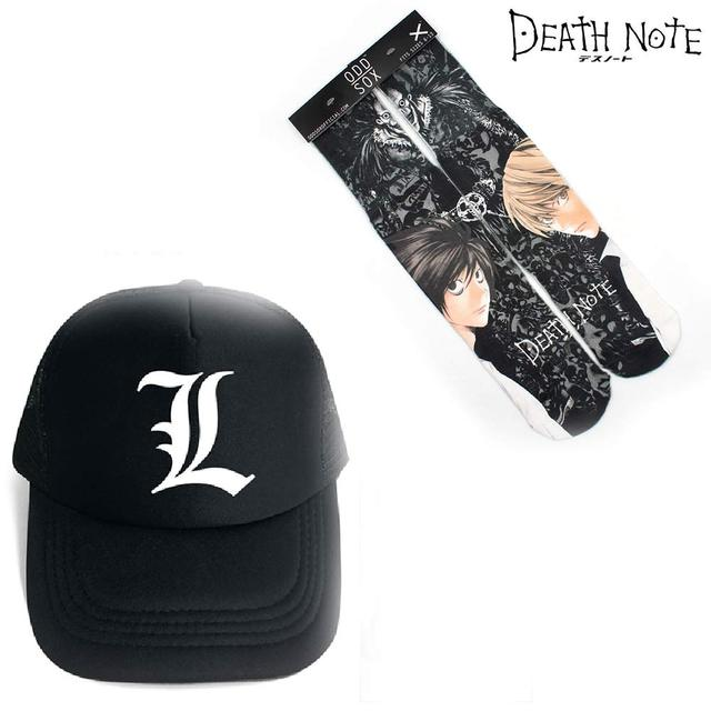 99c8ed6f321 OHCOMICS Death Note L.Lawliet Killer Hot Anime Baseball Cap+Socks Hat  Peaked Cap Stockings Hose Tight Costume Accessories Sets
