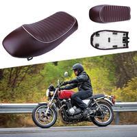 Waterproof Leather Retro Vintage Hump Cafe Racer Seat Saddle Motorcycle Seat Saddles 53cm for Honda CB Yamaha SR Motorcycle