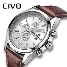 цена CIVO Men Watch Fashion Genuine Leather Mens Watches Waterproof top brand Casual Calendar Business Sports Brown Quartz For Mens онлайн в 2017 году