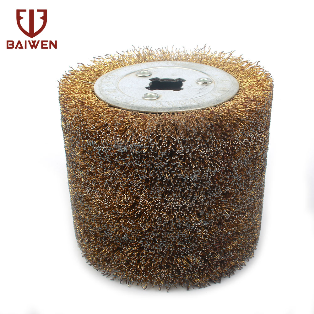 Copper Coated Steel Wire Drawing Polishing Wheel Metal Removal Grinding Abrasive Tool 100mmx120mm 0.5 Wire