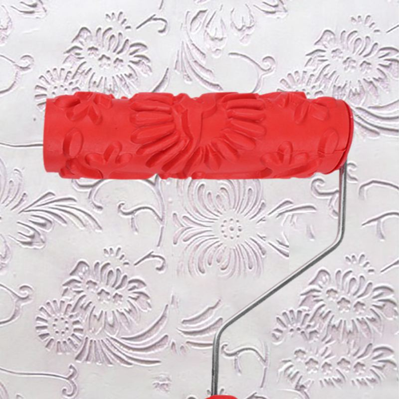 7in Rubber Embossing Texture Wall Printing Brush Relief Roller Tool With Handle