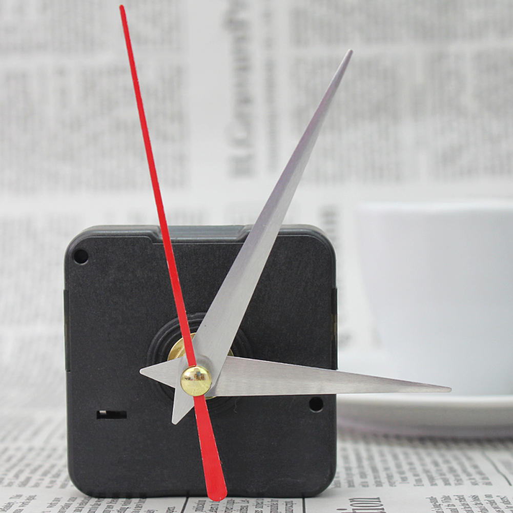 Simple DIY Quartz Clock Movement Mechanism Replace Parts Repair Tool Kit Silver Hour Minute Set Plastic Hands Work Wall Clock