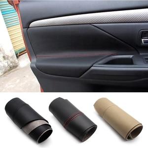 Image 1 - Apoyabrazos para puerta de coche Mitsubishi Outlander, Panel de microfibra suave para Interior de coche, protectores de decoración, 4 Uds., 2014, 2015, 2016, 2017