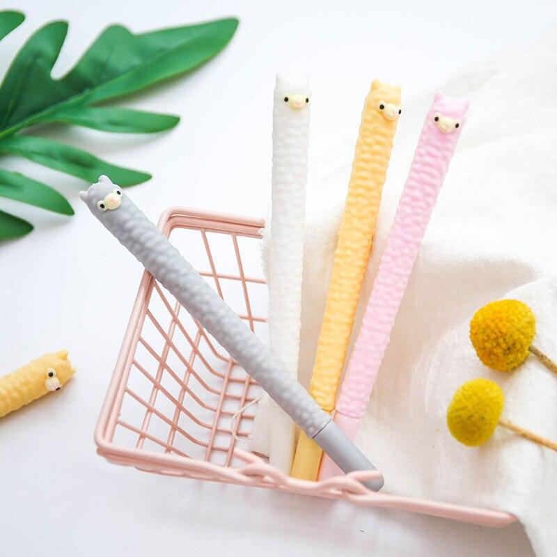 1Pc Cute Alpaca Gel Pens Kawaii Neutral Pens 0.5mm Creative Pens For Kids Girls Writing School Office Supplies Stationery