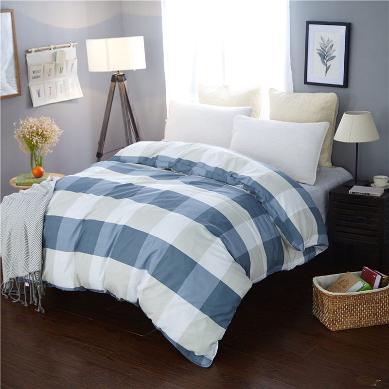 New Design 2018 1Pcs Duvet Cover Plaid Stripes Quilt Cover Skin Care Cotton Bedclothes 150x200cm/180x220cm/200x230cm Size