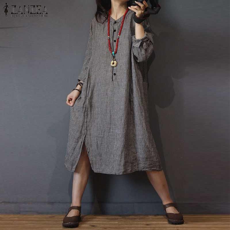 2019 плюс размер ZANZEA Весна Осень женское повседневное с круглым вырезом и длинным рукавом сплит винтажное клетчатое Свободное длинное короткое платье