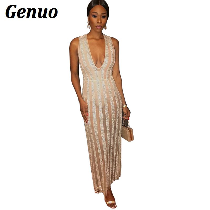 Genuo Sexy Women Deep V Sequins Shiny Summer Dress Strap See Through Bandage Bodycon Long Clubwear Party Dresses