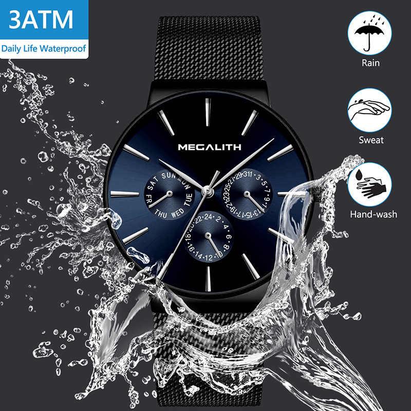 MEGALITH mode Simple conception hommes montre étanche Ultra mince hommes montres-bracelets en acier noir maille montres-bracelets pour hommes horloge