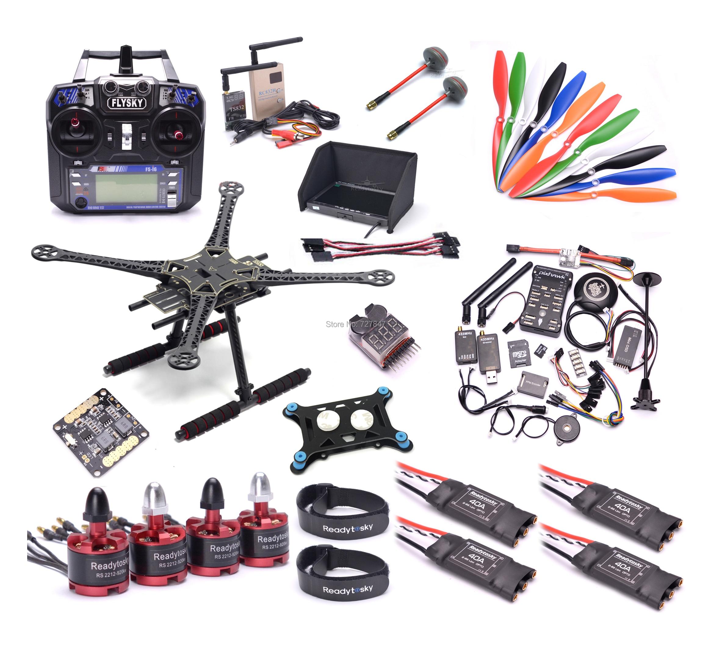 S500 500mm/F450 450 MILÍMETROS Quadcopter Kit PIXHAWK 2.4.8 2212 920KV 40A ESC Do Motor RC832 TS832 7 polegada monitor de Flysky I6 1045 Prop