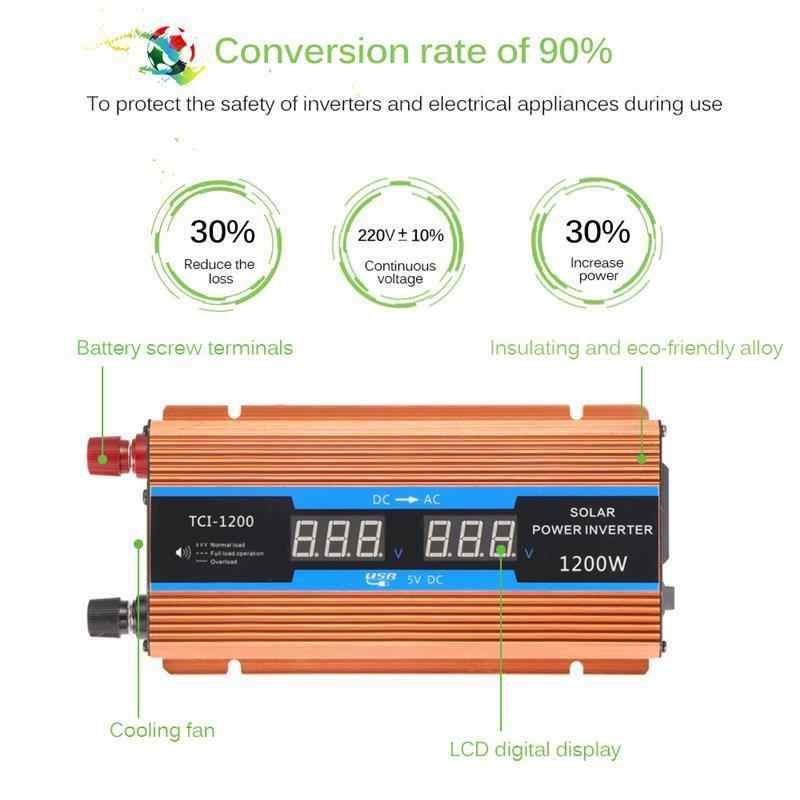700 W نقي شرط موجة محول طاقة السيارة تحويل 1200 W ذروة السلطة DC 12 V إلى AC220V مع شاشة الكريستال السائل للشحن محمول