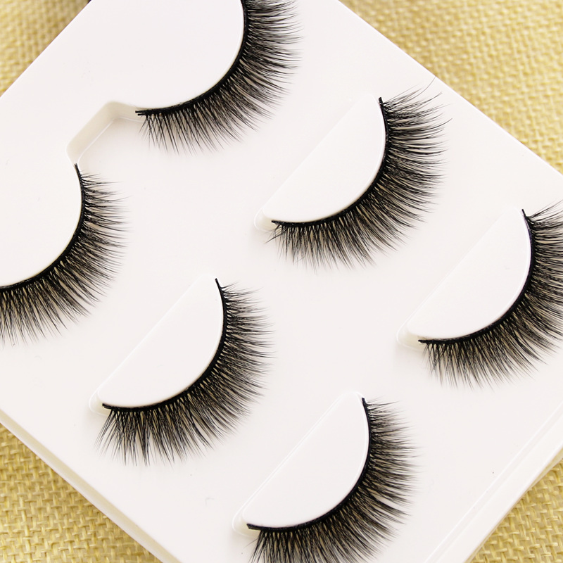 YOKPN 3Pairs False Eyelashes Short Natural 3D Cross Eye Lashes Realistic Soft Handmade Fake Eyelashes Daily Dating Makeup Tool