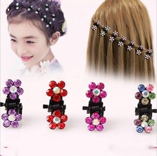 High Quolity Mini cz crystal hair claws  fashion floral hairpins with paved imitated diamond colored rhinestone clips 32pcs