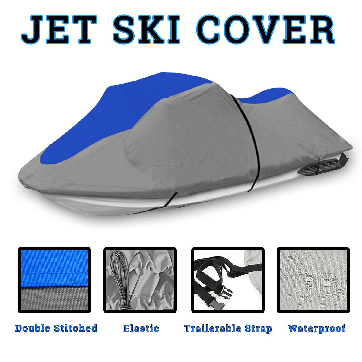 600D Solution Dyed 8.1oz Oxford Boat Cover For Universal Fit 3 person PWC Jet Ski, 116 to 135 / 137 to 140 UV Mildew Protected600D Solution Dyed 8.1oz Oxford Boat Cover For Universal Fit 3 person PWC Jet Ski, 116 to 135 / 137 to 140 UV Mildew Protected