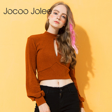 Jocoo Jolee Hpllow Out Turtleneck Knitted Sweater Women Sexy Backless Bow Tie Crop Top Autumn Casual Pullover Jumper 2018