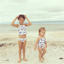 PUDCOCO 2PCs Toddler Kids Baby Girls Swimsuit Swimwear Bathing Suit Tankini Bikini Set