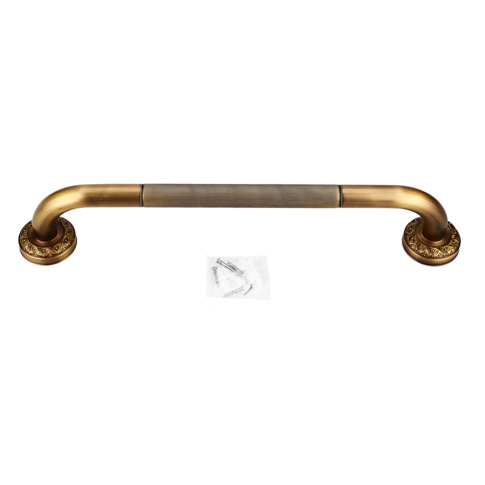 Antique Style Brass Carved Shower Tub Safety Grab Bar Wall Mounted Bathroom Accessories Black New