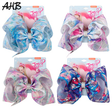 AHB 8 Inch Jumbo Hair Bows Clips for Girls Shiny Print with Rhinestones Hairgrips Barrettes Kids Accessories