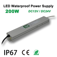 цены 200W Waterproof Power Supply,LED Strip Drive,IP67,DC12/24V,Adapter transformer,Indoor & Outdoor Use,for Linear lighting