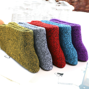 Image 5 - Winter Women Thick Warm Terry Cotton Fashion  Solid Harajuku Retro Solid Color Wool Socks 5 Pair