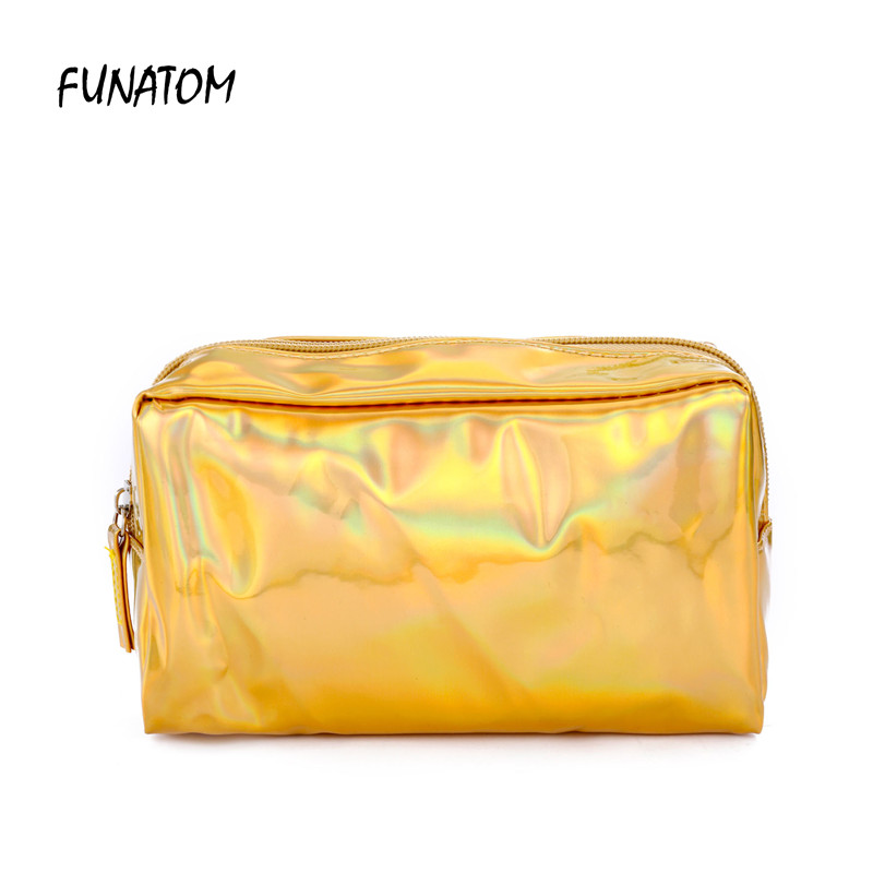 Women Travel Cosmetic Bags Laser Pu Makeup Brush Pouch Toiletry Organizer Storage Bag Portable Holographic Beauty Case