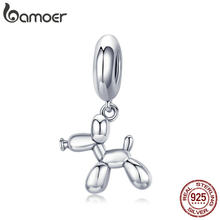 BAMOER Genuine 925 Sterling Silver Balloon Dog Pendant Animal Charms Fit for Charm Bracelets & Necklace Silver Jewelry SCC981(China)