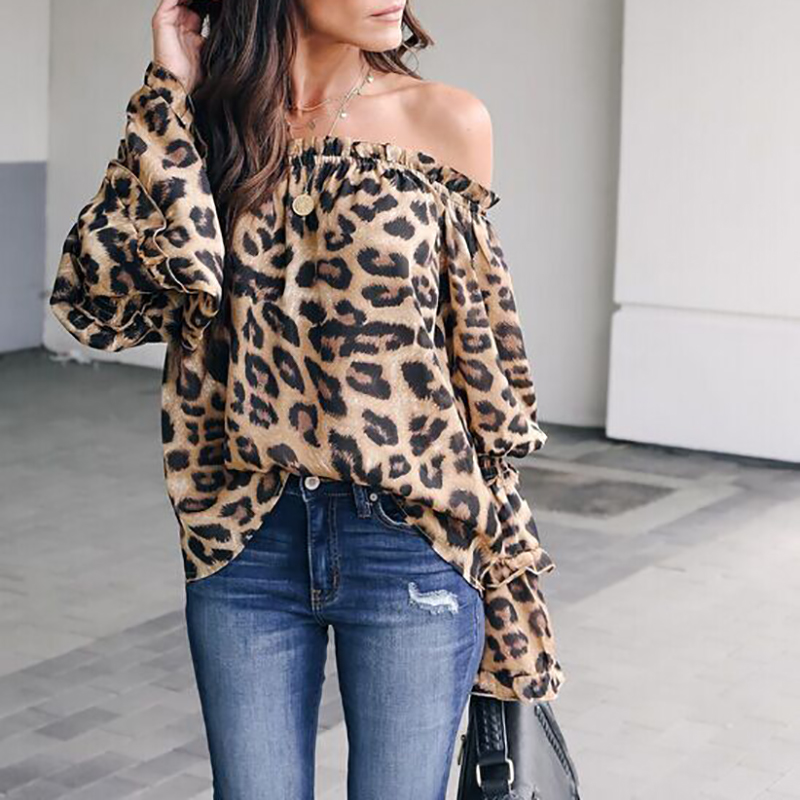 2019 Fashion Women Casual   Blouse     Shirt   Leopard Print Flare Long Sleeve Off Shoulder Tops Ladies Sexy Costume Spring Clothes New