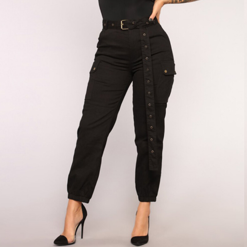 High Waist Hip pop Dance   Pants   Women Army Green Black Bandage Belt Sashes Casual Loose Cargo Harem   Pants     Capris   Women