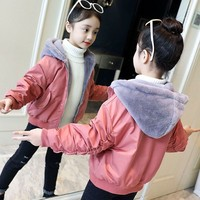 Fleece Teenage Children Coat Baby Girls Winter Coats Long Sleeve Clothes Thick Sports Toddler Jacket Hooded Kids Outerwear 2018