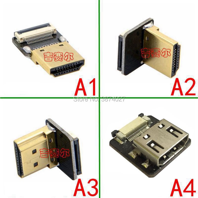 FPV Micro HDMI Mini HDMI 90 градусов адаптер 5 см-100 см FPC плоский HDMI кабель шаг 20pin разъем