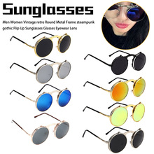 Vintage round steampunk sunglasses Men and Woman small flip up women retro metal silver cheap uv400