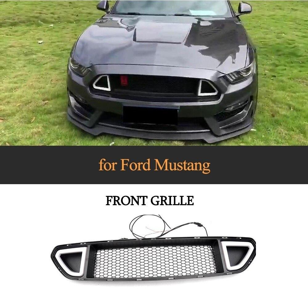 Mode Stijl Grille Voor 2015-2017 Ford Mustang Abs Mat Zwart Met Wit Groen Rood Licht Voor Kiezen Nieuwste Technologie