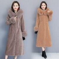 Women's Fur Coats Faux Fur Coat 2018 New Winter Sheep Sheared Coat Fox Fur Collar Ladies Warm X Long Parka Outwear