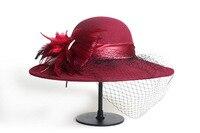 Elegant Veil Hat Lady Church Sombreros Winter 100% Wool Fedora Hat Women Black Vintage Wide Brim Felt Hats Cloche Fedora