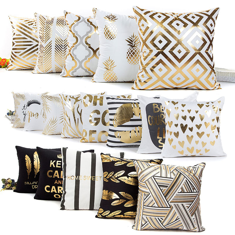 Gold Bronzing Trendy Cotton Home Decorative Pillow Cases Pineapple Bedroom Luxury Office Hot Sale New 1PC Geometric