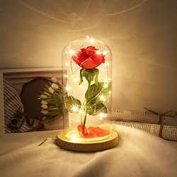 Вечерние цветок розы для декорирования Светодиодный светильник огни 20 с стекло крышка освещая, деревянный домашний чехол USB