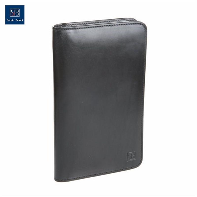 Business Card Holder Sergio Belotti 1308 Milano black short genuine leather cowhide men wallet business card coin money male purse card holder