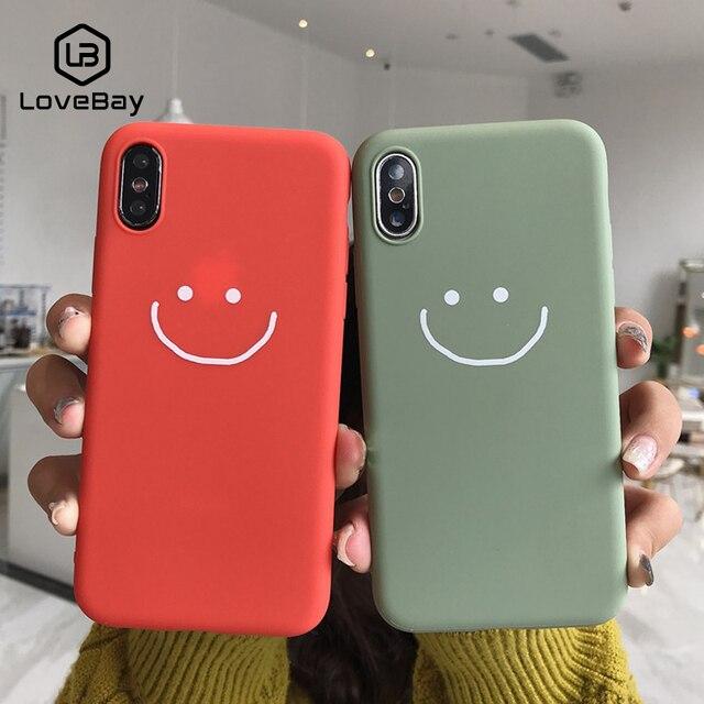Caixa Do Telefone Para o iphone 6 6 Lovebay s 7 8 Plus X XR XS Max Moda Rosto Smiley Dos Desenhos Animados Doces cor Suave Silicone Para o iphone X Tampa