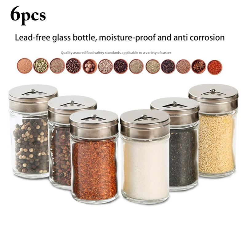 3/6pcs Stainless Steel Lid Condiment Pot Seasoning Bottle Glass Kitchen Supplies And Materials Saltcellar Rotational Regulation