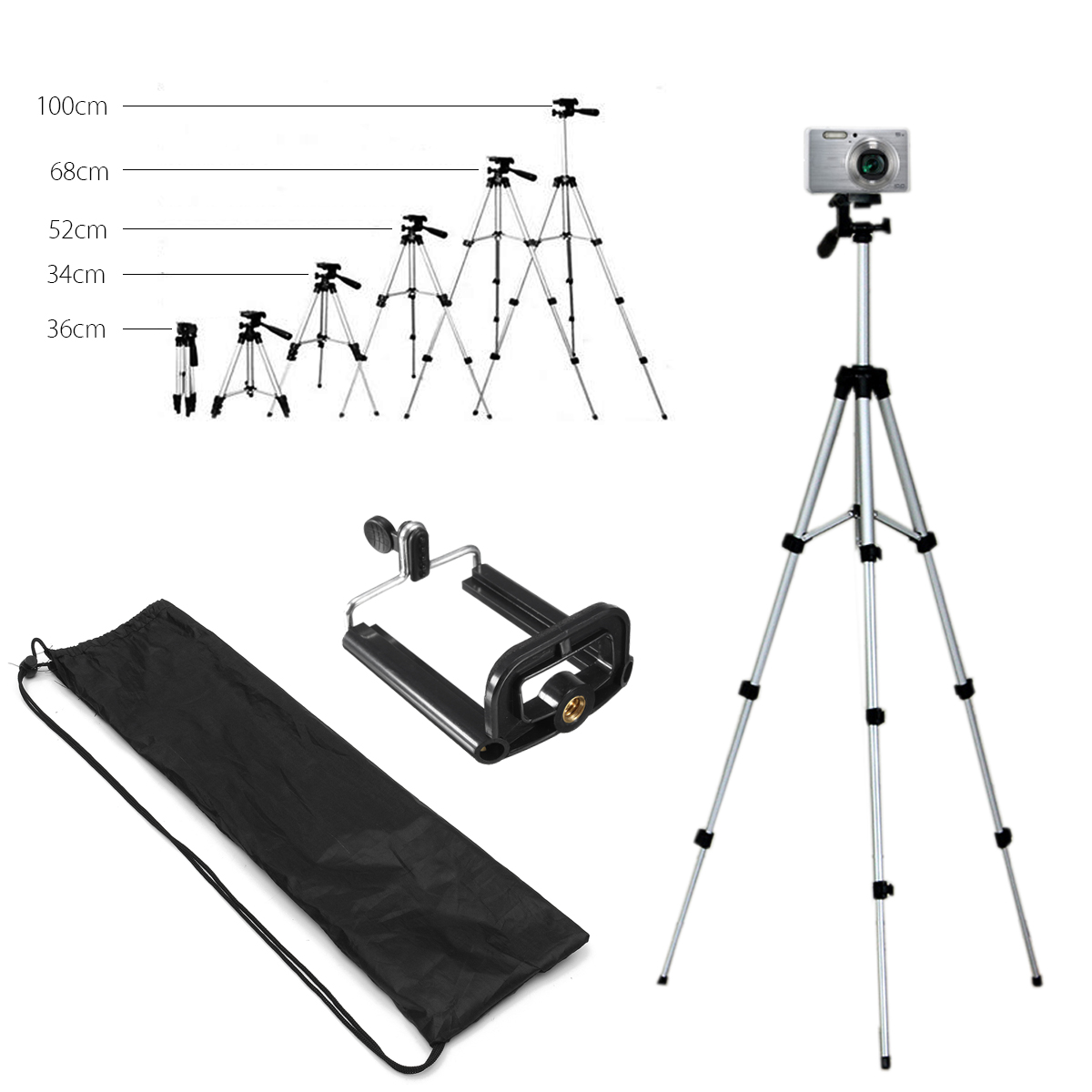 Extendable 36-100cm Universal Adjustable Tripod Stand Mount Holder Clip Camera Phone Holder Bracket For Cell Phone CameraExtendable 36-100cm Universal Adjustable Tripod Stand Mount Holder Clip Camera Phone Holder Bracket For Cell Phone Camera