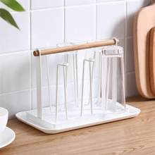 Cup Drying Rack Stand Non-slip Iron Art Hook Bottle Drainer Mugs Cups Wine Glasses Organizer with Wood Handle and Tray(China)