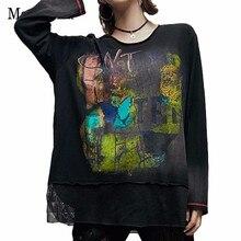最大ルル 2019 ファッション日本デザイナーレディースセクシーなメッシュトップスtシャツレディースゴシックtシャツプリントストリート女性特大tシャツ