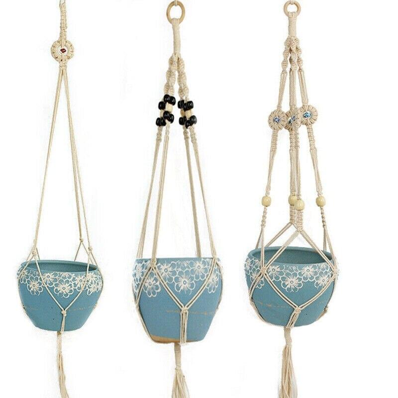 Rétro-macramé plante cintre jardin support de pot de fleur suspendus corde panier décor