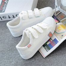 White Sneakers Women's Vulcanize Shoes Sneakers Candy Color Hook & Loop Canvas Shoes Women Rubber Sole Ladies Shoe S0993