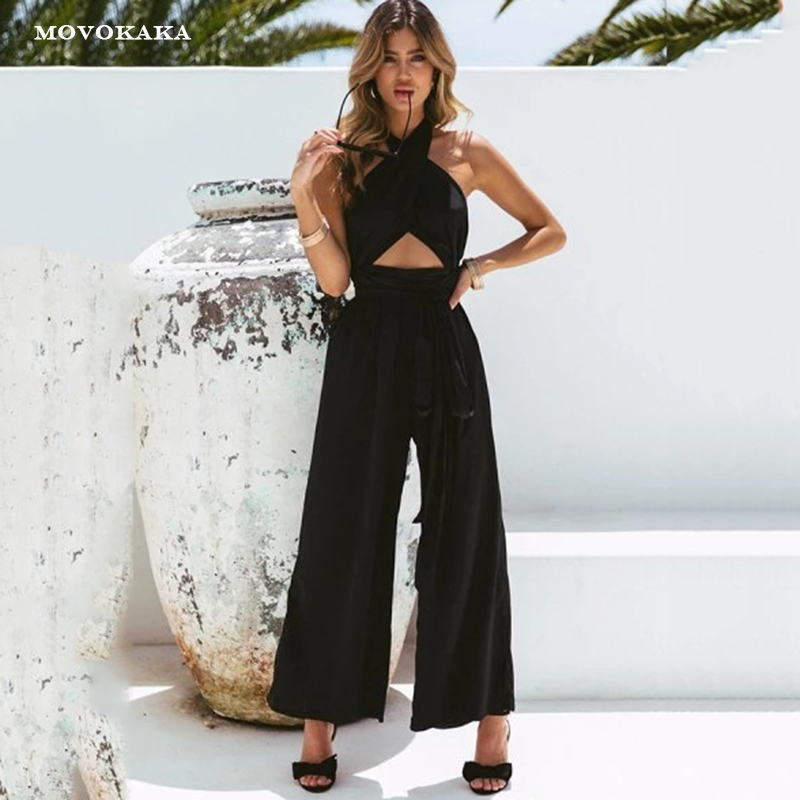 Fashion Wide Leg Pants Jumpsuit Women Elegant Sexy Cross Hanging Neck Halter Black Jumpsuits Female 2019 Rompers Womens Jumpsuit